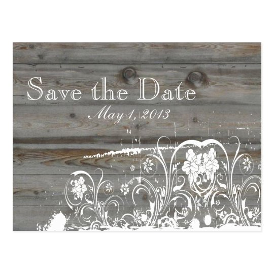 Country Faded Wood Save the Date Postcard