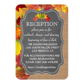 Country Fall Burlap Wedding Reception Enclosure 9 Cm X 13 Cm Invitation Card