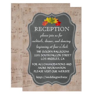Country Fall Music Sheet Reception Enclosure 9 Cm X 13 Cm Invitation Card