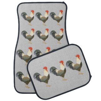 Country Farm and Barn Rooster Pattern Floor Mat