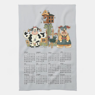 country farm calander kitchen towel