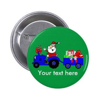 Country Farm Santa On Tractor With Gifts 6 Cm Round Badge