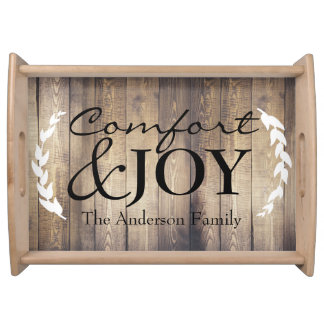 Country Farmhouse Wood Comfort & JOY Family Name Serving Tray