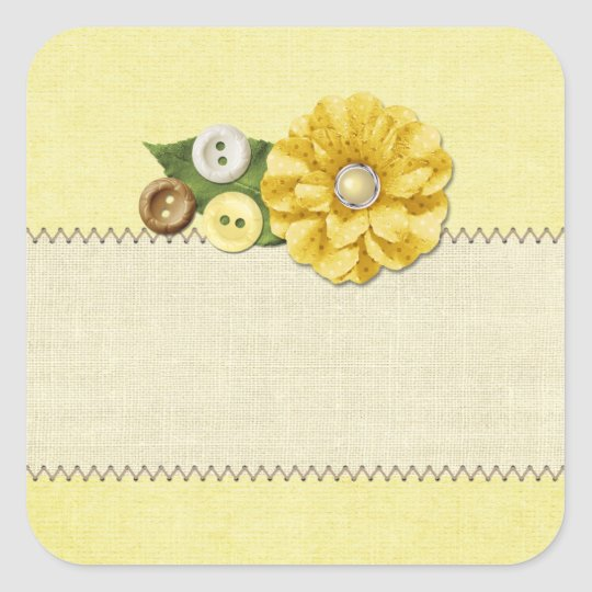 Country Farmhouse Yellow Sewing Buttons & Flower Square