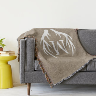 Country Faux Burlap White Deer Antlers Monogram Throw Blanket