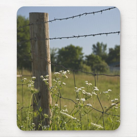 Country Fence Post and Wildflowers Mouse Mat