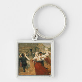 Country Festival, 1890s Silver-Colored Square Key Ring