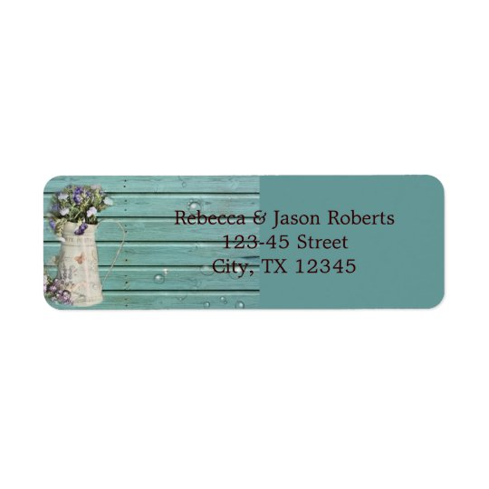 country floral barn wood rustic wedding return address label