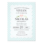 Country Floral Gingham Pink Blue Wedding 13 Cm X 18 Cm Invitation Card