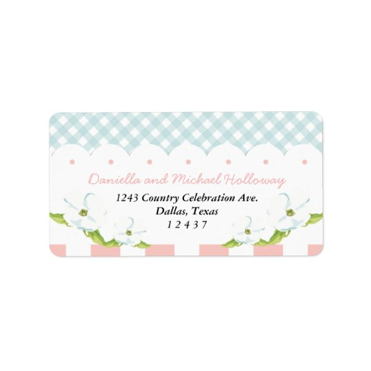 Country Floral Gingham Pink Blue Wedding Label