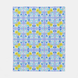 Country Flower Bouquet in Blue and Yellow Fleece Blanket