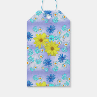 Country Flower Bouquet in Blue and Yellow Gift Tags