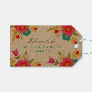 Country Flowers Party Gift Tags