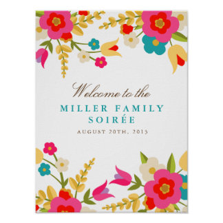 Country Flowers Party Welcome Poster