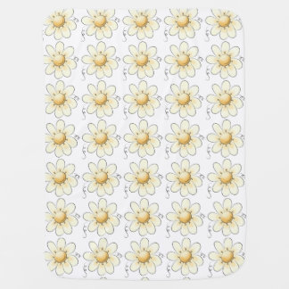 Country Flowers White Unisex Pram blanket