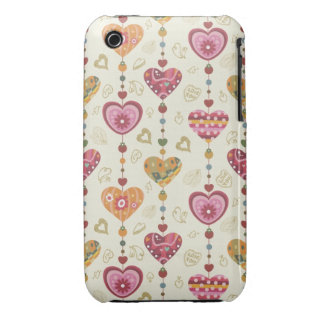 Country Folk Art Heart Pattern iPhone 3 Covers