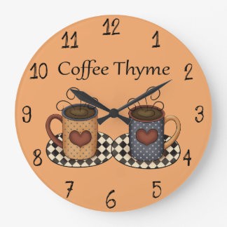 Country Folk Art Kitchen Coffee Design Large Clock
