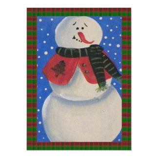 Country Folk Snowman Holiday Party 14 Cm X 19 Cm Invitation Card