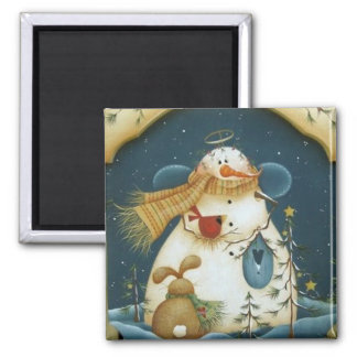 Country Friends Forest Snowman Angel Magnet