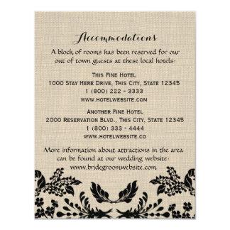 Country Garden and Burlap Info Card 11 Cm X 14 Cm Invitation Card