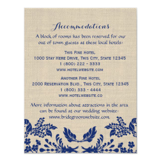 Country Garden Blue and Burlap Info Card 11 Cm X 14 Cm Invitation Card