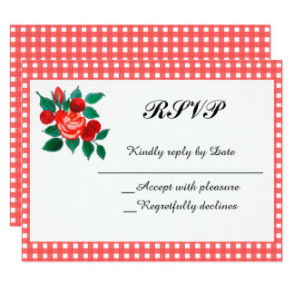 Country Gingham and Floral RSVP Invitation