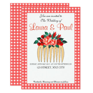 Country Gingham and Floral Wedding Invitation