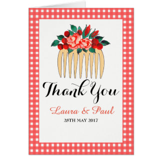 Country Gingham and Floral Wedding Thank You Card