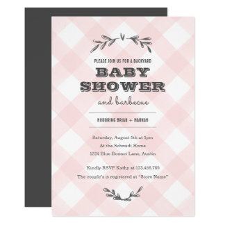 Country Gingham Baby Shower Card