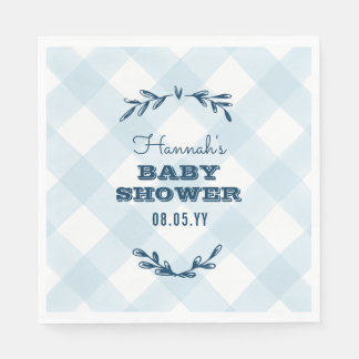 Country Gingham Baby Shower Paper Napkins