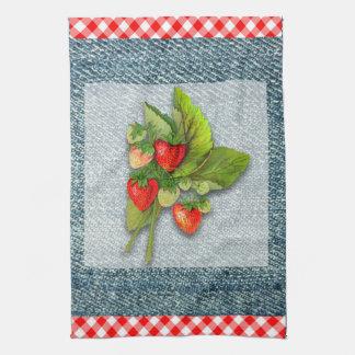 Country Gingham, Denim, and Strawberries Tea Towel