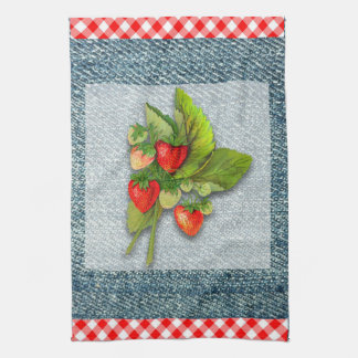 Country Gingham, Denim, and Strawberries Towel