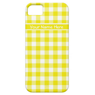 Country Gingham in Lemon Yellow and White Barely There iPhone 5 Case