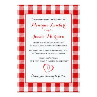 Country Gingham Red & White Checks Wedding Plaid Card