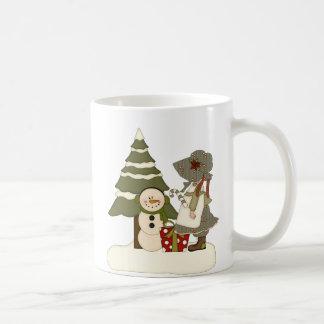 Country Girl Snowman Christmas Mug