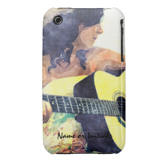 Country Girl with Acoustic Guitar Water Color iPhone 3 Cases