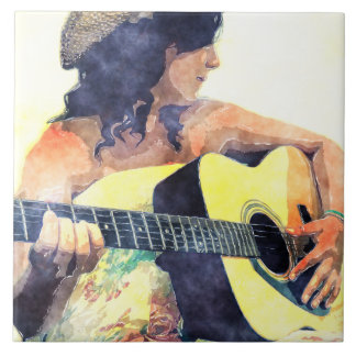 Country Girl with Acoustic Guitar Water Color Large Square Tile