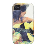 Country Girl with Acoustic Guitar Water Colour Vibe iPhone 4 Case