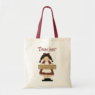 Country Girl with Ruler Teacher's tote bag