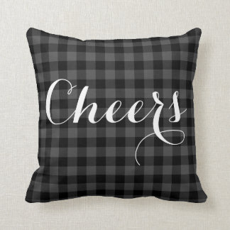 Country grey and black plaid - Cheers Throw Pillow