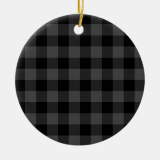 Country grey and black plaid christmas ornament