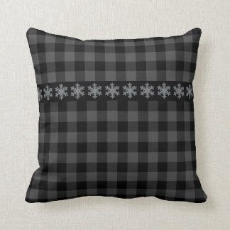 Country grey plaid -snow flake - let it snow throw pillow