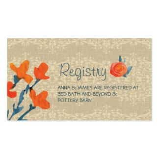 Country Harvest Wedding Registry Card Pack Of Standard Business Cards