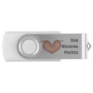 Country Heart Wedding Swivel USB Drive Swivel USB 2.0 Flash Drive