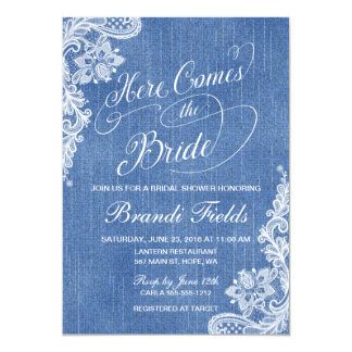 Country Here Comes the Bride Shower in denim Card