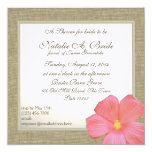 Country Hibiscus Tropicl Bridal Shower 13 Cm X 13 Cm Square Invitation Card