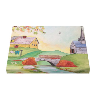 Country Home Landscape Canvas Print