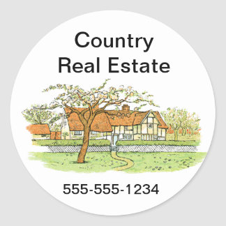 Country Home Round Stickers