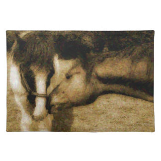 Country Horses Impressionist Painting Effect Placemat