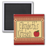 Country Kitchen-Apple & Name Square Magnet